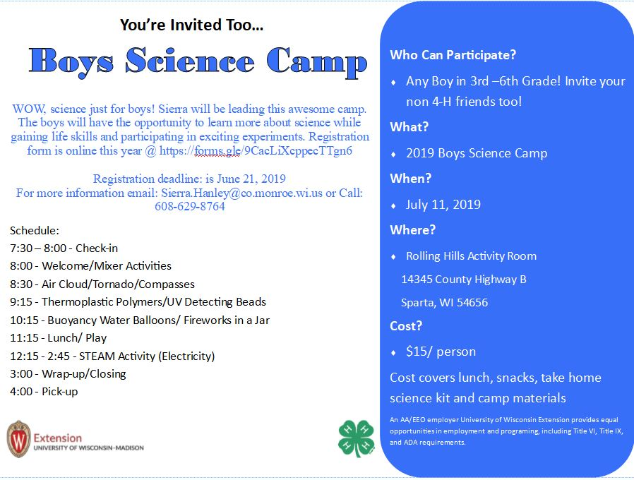 Boys and Girls Science Day – Extension Monroe County